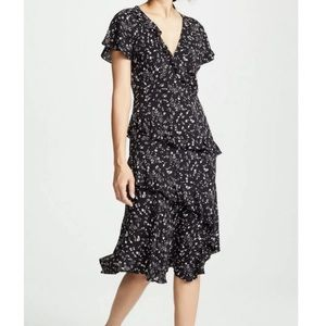 Joie Orita Black Floral Midi Dress